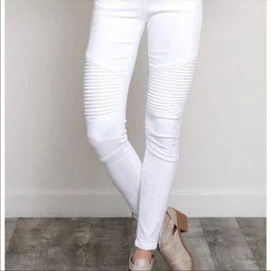 Coated Cream/Off White Biker Moto Jeans Sz 2